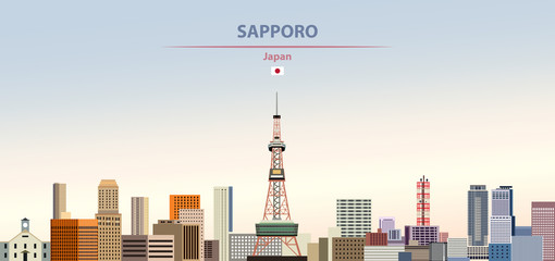 Fototapete - Vector illustration of Sapporo city skyline on colorful gradient beautiful daytime background