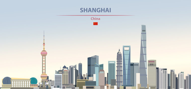 Vector illustration of shanghai city skyline on colorful gradient beautiful daytime background