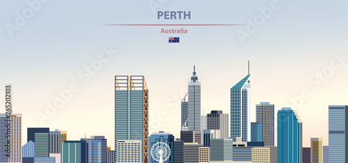 Fototapete Vector illustration of Perth city skyline on colorful gradient beautiful daytime background