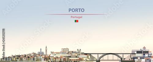 Fototapete Vector illustration of Porto city skyline on colorful gradient beautiful daytime background