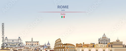Fototapete Vector illustration of Rome city skyline on colorful gradient beautiful daytime background