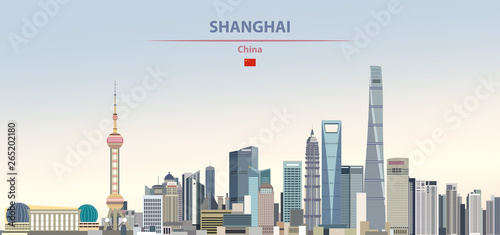 Fototapete Vector illustration of shanghai city skyline on colorful gradient beautiful daytime background