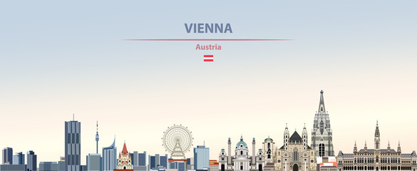 Fototapete - Vector illustration of Vienna city skyline on colorful gradient beautiful daytime background