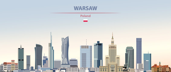 Fototapete - Vector illustration of Warsaw city skyline on colorful gradient beautiful daytime background