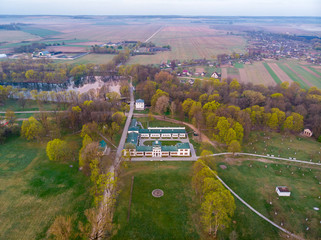 The manor of Michail Oginsky famous composer. The village Zalesie, Belarus. Drone aerial photography