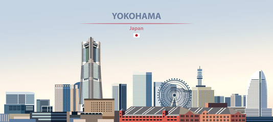 Wall Mural - Vector illustration of Yokohama city skyline on colorful gradient beautiful daytime background