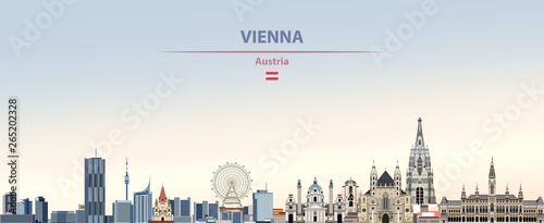 Fototapete Vector illustration of Vienna city skyline on colorful gradient beautiful daytime background