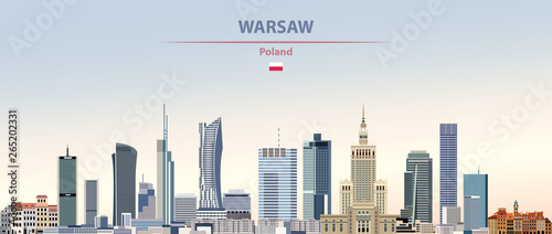 Fototapete Vector illustration of Warsaw city skyline on colorful gradient beautiful daytime background