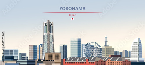 Fototapete Vector illustration of Yokohama city skyline on colorful gradient beautiful daytime background