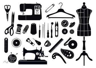Set of silhouettes of items for sewing. Monochrome.Tailor. Vector