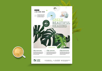 Minimalist Flyer Layout with Green and Circular Accents