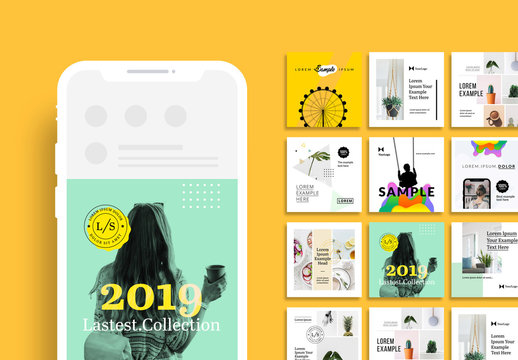 Colorful Social Media Kit with Green and Yellow Accents