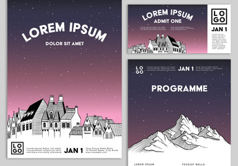 Event Promotion Set with Illustrated House and Mountain Imagery