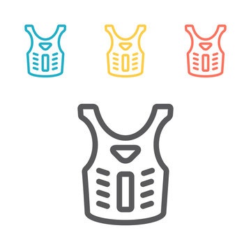 Bulletproof vest, Body armor line icon, outline vector sign, linear pictogram isolated on white. Symbol, logo illustration
