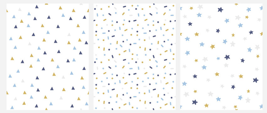 Set of 3 Geometric Seamless Vector Pattern with Blue, Gold and Gray Dots, Triangles, Stars Isolated on a White Background. Simple Lovely Confetti Rain. Bright Starry Layout. Cute Doted Vector Design.