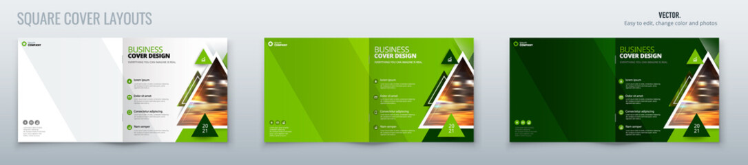Square green magazine template layout design with triangles. Corporate business annual report, catalog, magazine, flyer mockup. Creative modern bright concept with triangle shape for magazine Wall mural