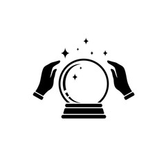 Crystal Ball Magic Icon With Hands. Vector Logo Template