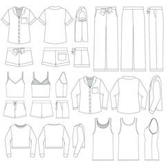 Vector templates set of Women's Sleepwear