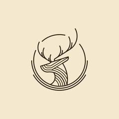 circle deer head logo modern graphic design illustration