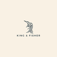 King And Fisher king fisher bird of law with line art modern logo design inspiration