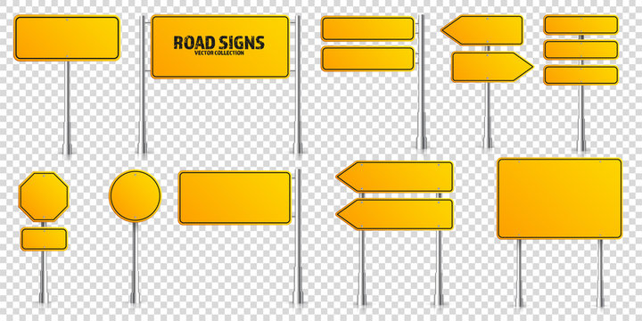 Road yellow traffic signs set. Blank board with place for text. Mockup. Isolated information sign. Direction. Vector illustration.
