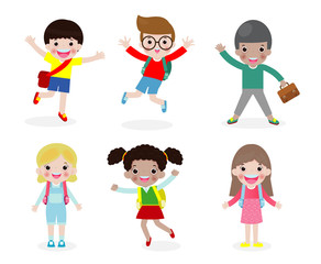 Printset of happy children go to school, back to school,education concept, school kids, isolated on white background