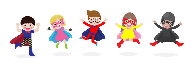 PrintCartoon set of Kids Super heroes wearing comics costumes. children in Superhero costume characters isolated on white background, vector illustration