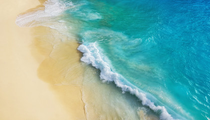 Beach as a background from top view. Waves and azure water as a background. Summer seascape from air. Bali island, Indonesia. Travel - image