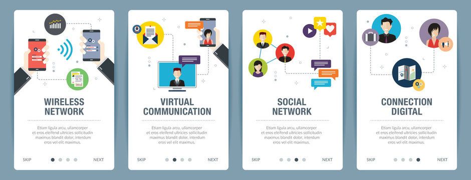 Vector set of vertical web banners with wireless network, virtual communication, social network, connection digital. Vector banner template for website and mobile app development with icon set.