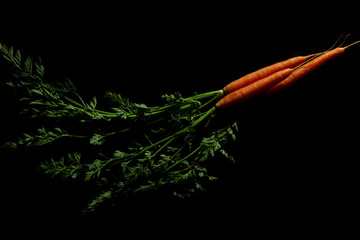 Fresh carrot bunch on dark stone table or black background top view, copy space