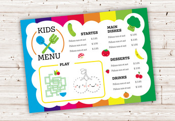 Colorful Kids Menu Layout with Fruits and Vegetables