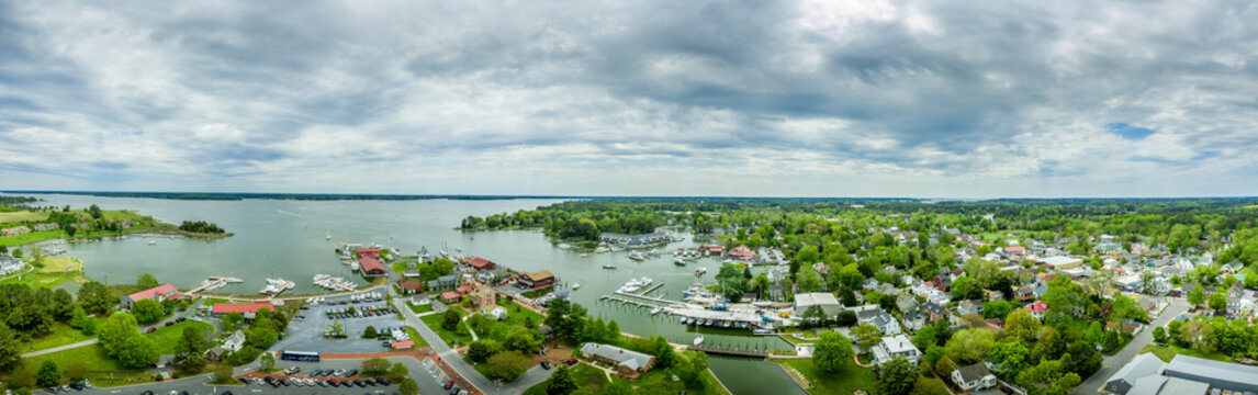 Aerial panorama of shipyard and lighthouse in St. Michaels harbor in Maryland in the Chesapeake Bay