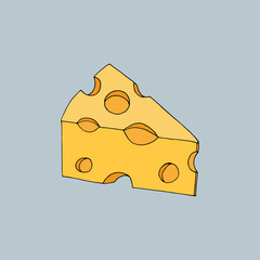Cartoon cheese pattern for printing on t-shirts and in books. Vector illustration of a piece of porous yellow cheese on a blue background. The cheese is hand-drawn to illustrate a cheese menu.