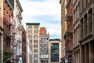 Street view of historic buildings on Broadway in the Tribeca neighborhood of Manhattan in New York City