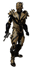 Science fiction illustration of an alien warrior figure wearing bronze space armour, 3d digitally rendered illustration