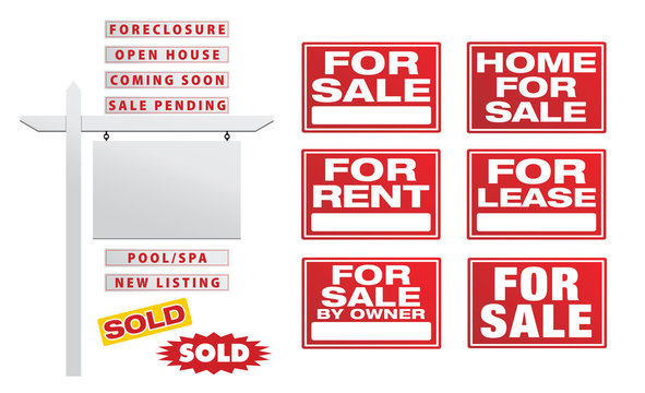 Set of Vector Real Estate Signs with Placards - Build Your Own