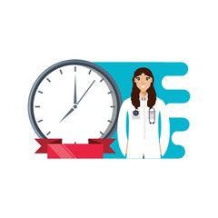 doctor female professional with clock time