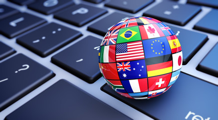 International World Flags Globe Computer Keyboard