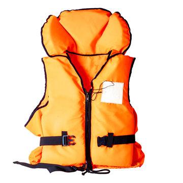 orange life jacket on white background