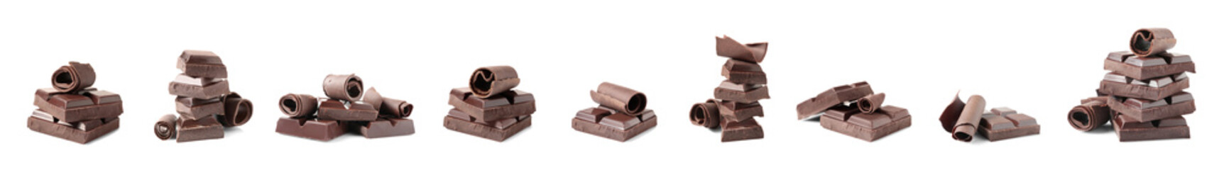 Set of delicious chocolate pieces and curls on white background