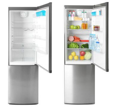 Set of modern refrigerators on white background