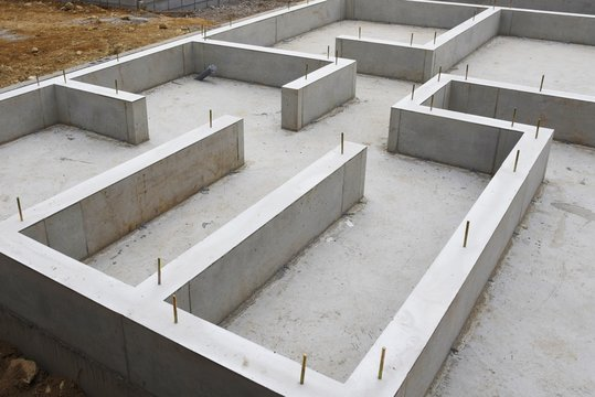 Foundation work of housing construction