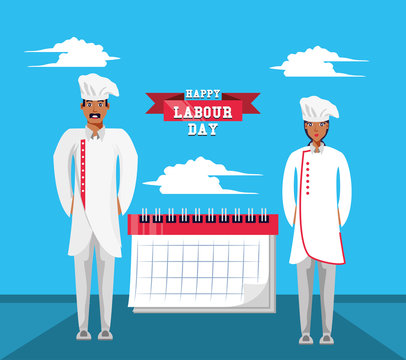 happy labour day with chef and calendar
