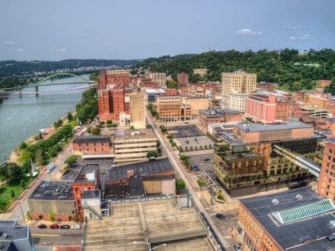 Aerial View of Downtown Wheeling, West Virginia on the Ohio River