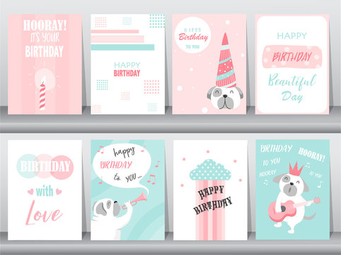Set of birthday cards,poster,invitation,template,greeting cards,animals,dog,puppy,cute,Vector illustrations