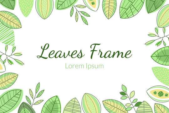 Leaves Frame, Foliage Decorative Elegant Card or Invitation Template with Place for Text
