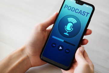 Podcast playing or recording application on mobile phone screen. Internet radio media concept.