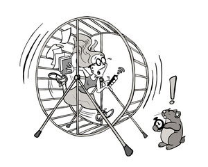 Young woman running in a hamster wheel - Denisse BW