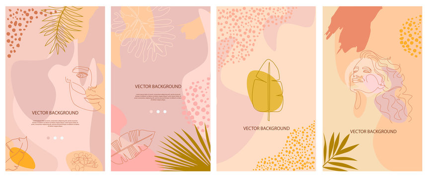 Set of abstract background with tropical elements, shapes and girl portrait in one line style. Background for mobile app page minimalistic style. Vector illustration