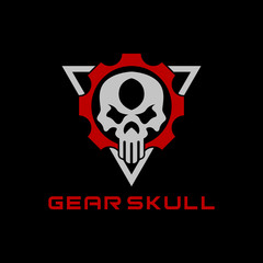 Gear Skull Logo Template Design Illustration for Game, team, Military, Armory, Weapon, Company and other